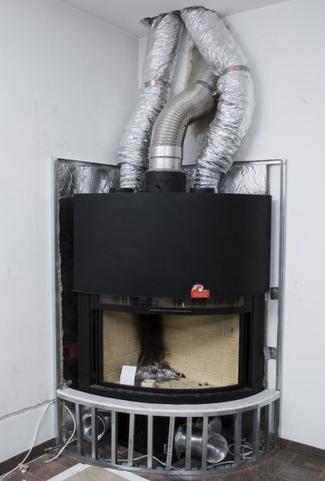 Kominek z systemem Dystrybucji Gorącego Powietrza - przewody